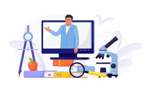 Edukacja online lub szkolenia biznesowe. stos książek i komputer z kursem wideo i profesjonalnym osobistym nauczycielem na ekranie. edukacyjne seminarium internetowe, zajęcia internetowe, e-learning przez webinarium