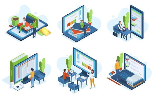 Edukacja online ludzi izometrycznych. kształcenie na odległość, postacie 3d uczą się online na ekranach komputerów zestaw ilustracji wektorowych. sceny izometryczne edukacji online