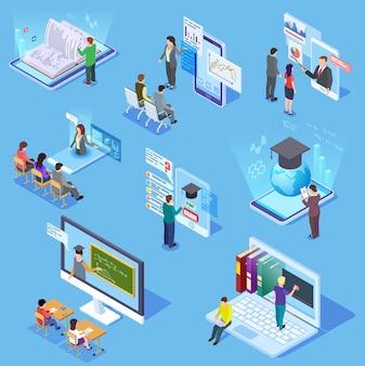 Edukacja online ludzi. studenci wirtualnej biblioteki w klasie, profesor nauczyciel, smartfon szkoleniowy. zestaw edukacyjny