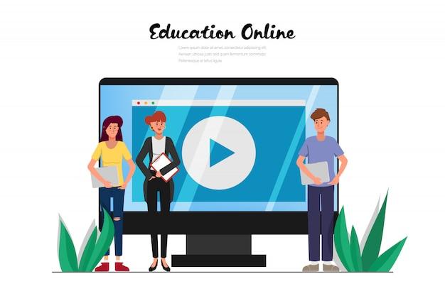 Edukacja online na stronie internetowej.