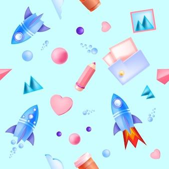Edukacja online, nauka dzieci w szkole wzór z latającymi rakietami, folder, ołówek.