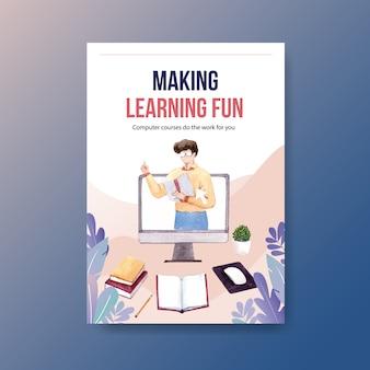 Edukacja online plakat projekt koncepcyjny, ulotka i reklama akwarela