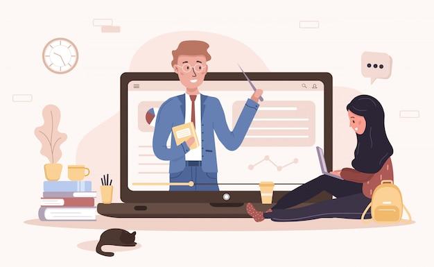 Edukacja online. płaska koncepcja szkolenia i samouczków wideo. uczeń uczący się w domu. ilustracja do banera witryny, materiałów marketingowych, szablonu prezentacji, reklamy online.