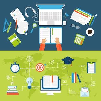 Edukacja online płaskie ikony wektor zestaw symboli szkoły na odległość i webinarium.