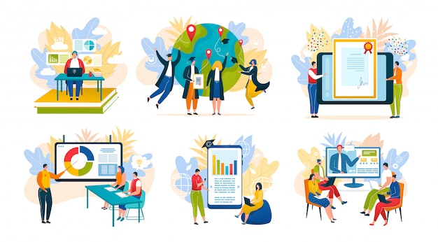 Edukacja online przez internet, kursy szkoleniowe, specjalizacja biznesowa, uniwersytet, zestaw ilustracji do szkolnego e-learningu. aplikacja do edukacji online i ukończenie studiów, technologia i komunikacja.