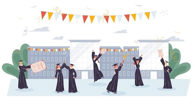 Edukacja online. studniówka. postać ucznia liceum w akademickiej sukni w czarnym kapeluszu, ciesząca się pomyślnym zakończeniem studiów, uzyskując dyplom licencjata