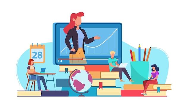 Edukacja online. uczenie się seminariów internetowych i wideo, nauczyciel online na monitorze komputera, nauczanie internetowe i e-learning, samouczki dla studentów, koncepcja płaskiego wektora
