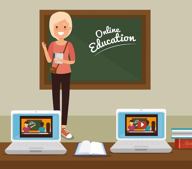 Edukacja online w klasie z laptopami