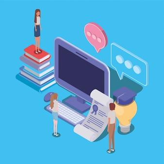 Edukacja online z komputerami stacjonarnymi i mini osobami
