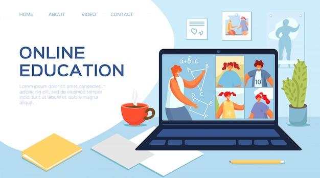 Edukacja online z laptopem, ilustracja. nauczyciel w szkole internetowej, ucz się w domu podczas kwarantanny. postać dziecka