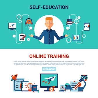 Edukacja online zestaw poziomej baner