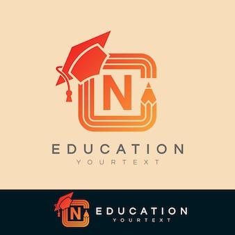 Edukacja początkowa litera n logo projektu