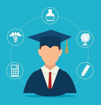 Edukacja projekt, wektorowa ilustracja.