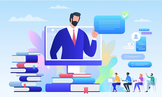 Edukacja, szkolenia online, kształcenie na odległość. projektowanie edukacji online dla grafiki mobilnej i internetowej