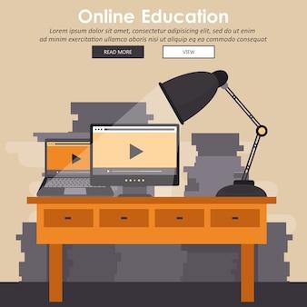 Edukacja, szkolenie, samouczek on-line, koncepcja e-learningu