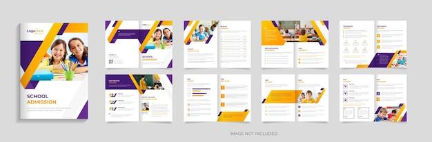 Edukacja szkolna 16 stron broszura szablon projektu wektor premium