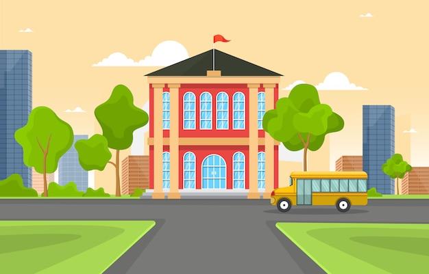 Edukacja szkolna budynek autobus ilustracja kreskówka krajobraz na zewnątrz