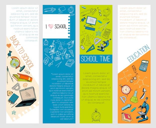 Edukacja szkolna ikony infographic sztandary