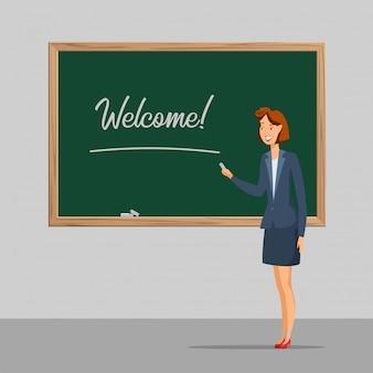 Edukacja szkolna ilustracja płaski kolor, młoda nauczycielka stojąca w pobliżu tablicy i zapraszam do klasy