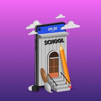 Edukacja szkolna online na telefon komórkowy 3d ilustracja na fioletowo