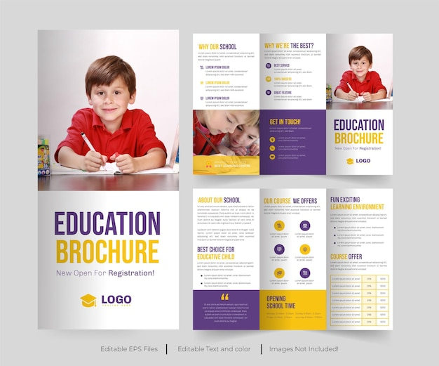 Edukacja trifold brochure lub broszura dotycząca przyjęcia do szkoły lub edukacji trifold brochure design