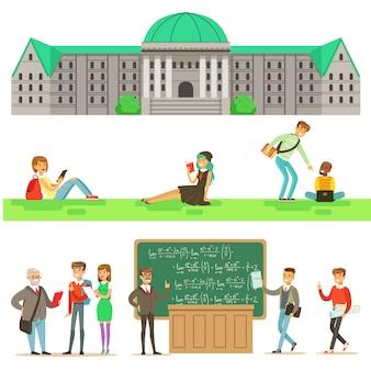 Edukacja uniwersytecka, studenci i profesorowie zestaw ilustracji