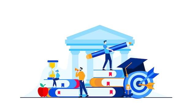 Edukacja uniwersytecka z postaciami mini ludzi.