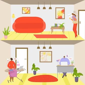 Edukacja w internecie, ilustracji wektorowych, badania postaci osób online w domu, studentka korzysta z technologii smartfonów do wiedzy z zakresu fizyki.