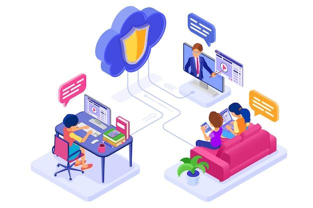Edukacja w zakresie współpracy online lub egzamin na odległość za pośrednictwem chronionej technologii chmury. kurs internetowy z postaciami izometrycznymi, e-learning z domu. nauka na tablecie i laptopie z nauczycielem na białym tle