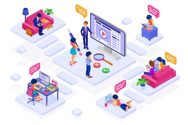 Edukacja we współpracy online, egzamin na odległość lub praca z domu