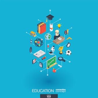 Edukacja zintegrowane ikony sieci web. koncepcja interakcji izometrycznej sieci cyfrowej. połączony graficzny system kropkowo-liniowy. abstrakcyjne tło dla elearning, ukończenia szkoły i szkoły. infograf