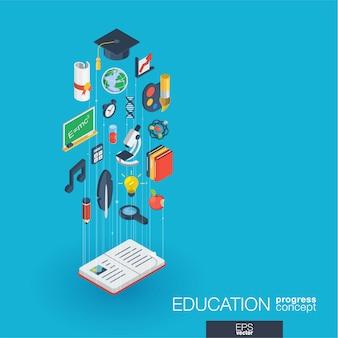 Edukacja zintegrowane ikony sieci web. koncepcja postępu izometrycznego sieci cyfrowej. połączony system wzrostu linii graficznych. abstrakcyjne tło dla elearning, ukończenia szkoły i szkoły. infograf