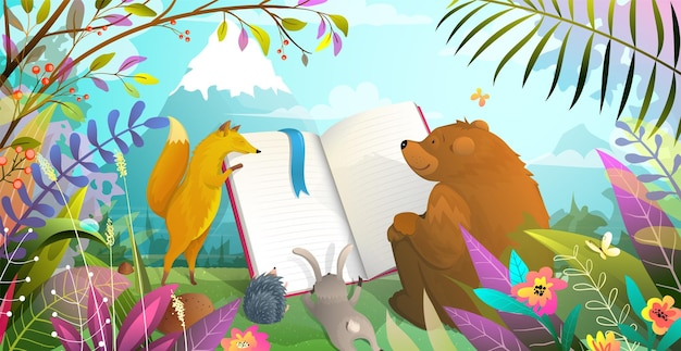 Edukacja zwierząt, lis niedźwiedzi, królik i jeż czytający dużą książkę w leśnym krajobrazie