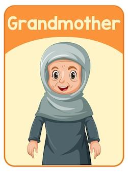 Edukacyjna angielska karta słowna babci