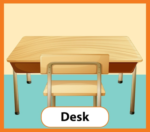 Edukacyjna angielska karta słowna z biurka