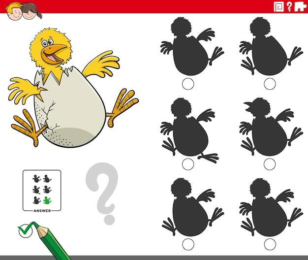 Edukacyjna gra cieni z pisklęciem z kreskówek