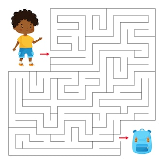 Edukacyjna gra labirynt dla dzieci w wieku przedszkolnym i szkolnym. pomóż chłopcu znaleźć właściwą drogę do jego tornistra.