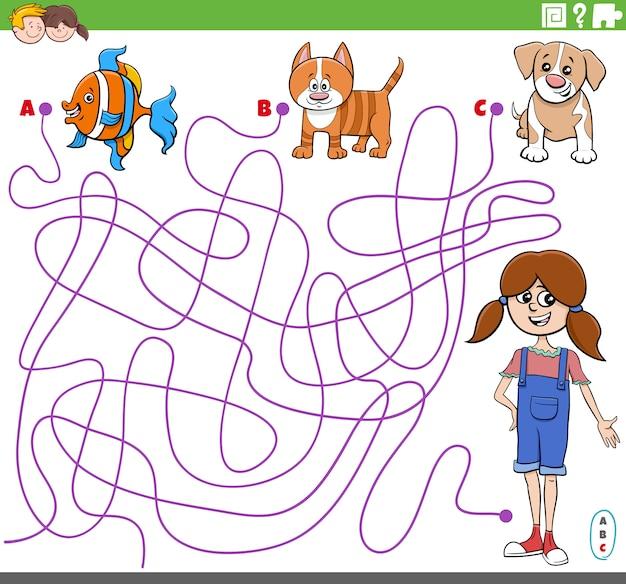 Edukacyjna gra labirynt z kreskówkową dziewczyną i zwierzętami