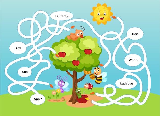 Edukacyjna gra labiryntowa dla dzieci ilustracja