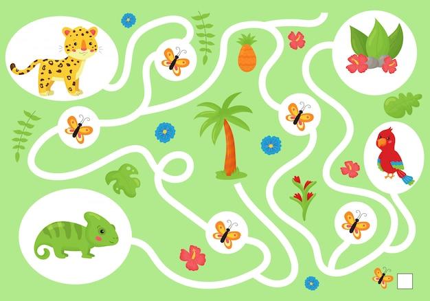 Edukacyjna gra labiryntowa dla dzieci w wieku przedszkolnym. pomóż kameleonowi zebrać wszystkich motyli.