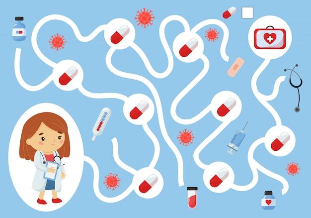 Edukacyjna gra labiryntowa dla dzieci w wieku przedszkolnym. pomóż lekarzowi zebrać wszystkie pigułki.