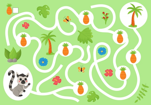 Edukacyjna gra labiryntowa dla dzieci w wieku przedszkolnym. pomóż lemurowi zebrać wszystkie ananasy. śliczne kawaii dżungli zwierząt. liczyć i pisać.