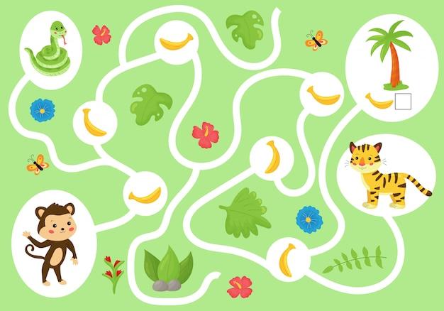 Edukacyjna gra labiryntowa dla dzieci w wieku przedszkolnym. pomóż małpie zebrać wszystkie banany.