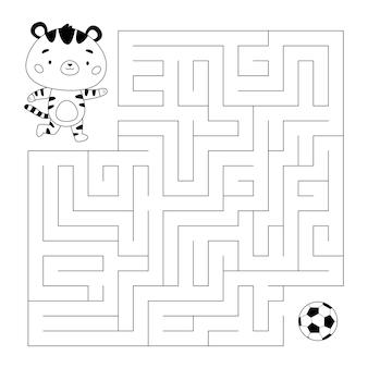 Edukacyjna gra labiryntowa lub labiryntowa z tygrysem grającym w piłkę nożną