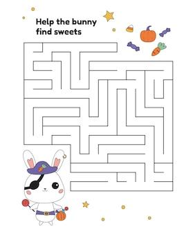 Edukacyjna gra labiryntowa z królikiem w kostiumie pirata