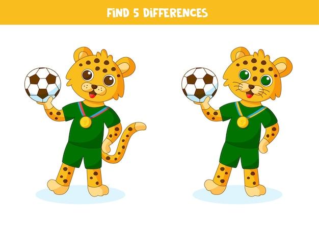 Edukacyjna gra logiczna dla dzieci. znajdź 5 różnic. lampart trzymający piłkę.