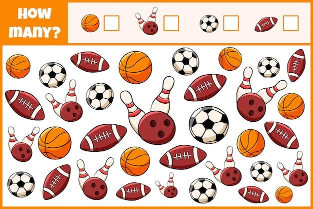 Edukacyjna gra matematyczna policz, ile sprzętu sportowego gra licząca dla dzieci