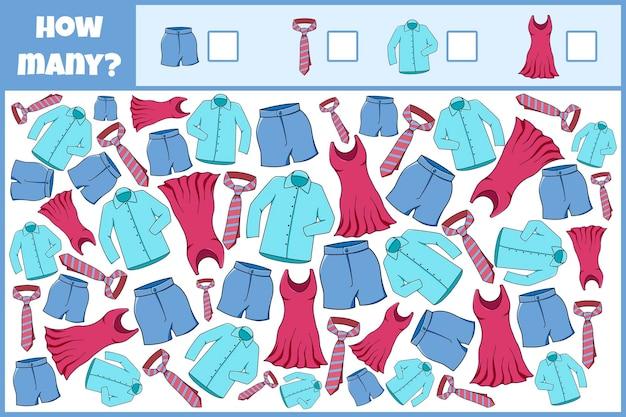 Edukacyjna gra matematyczna. policz liczbę ubrań. policz ile ubrań.