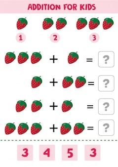 Edukacyjna gra matematyki dla dzieci z truskawkami dla dzieci.