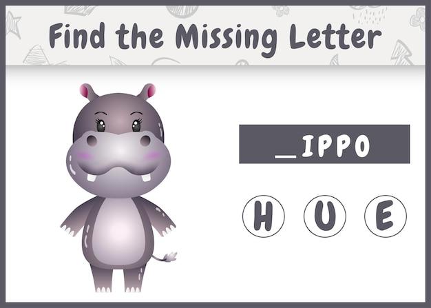 Edukacyjna gra ortograficzna dla dzieci, która znajduje brakującą literę z uroczym hipopotamem